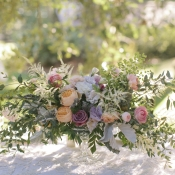 Peony and Rose Centerpiece With Fern