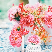 Pink Centerpiece in Modern White Vases