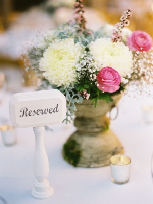 Pink and Cream Flowers Reception Decor