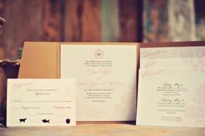 Pink and Cream Folded Wedding Stationery