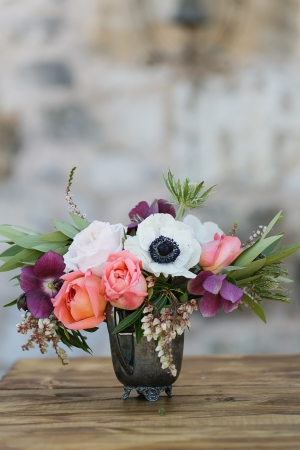 Poppy and Rose Florals in Antique Silver Vase