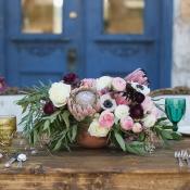 Protea Peony and Poppy Centerpiece