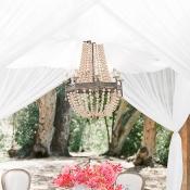Retro Chandelier Over Wedding Table