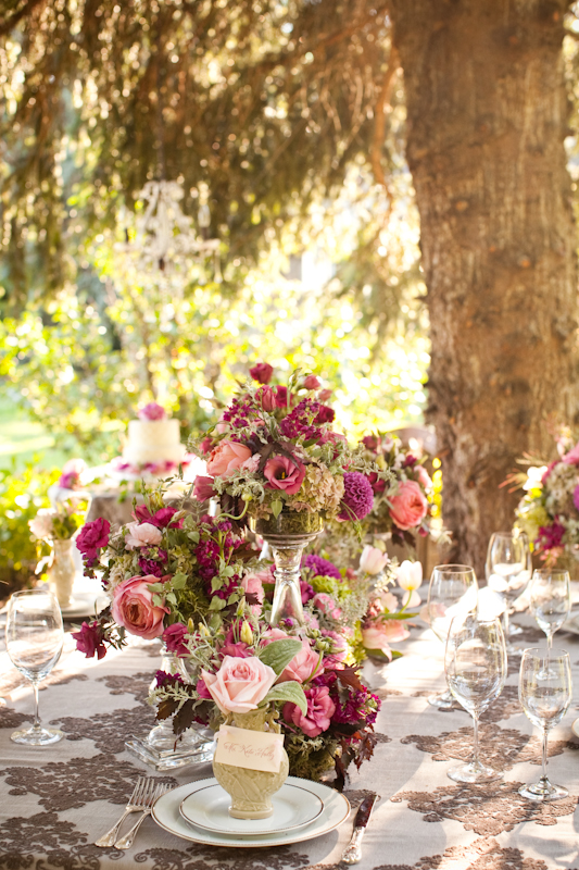 Romantic Berry Colored Wedding Florals