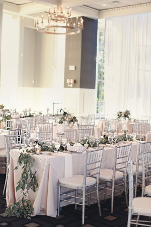 Romantic Silver and Blush Reception Decor