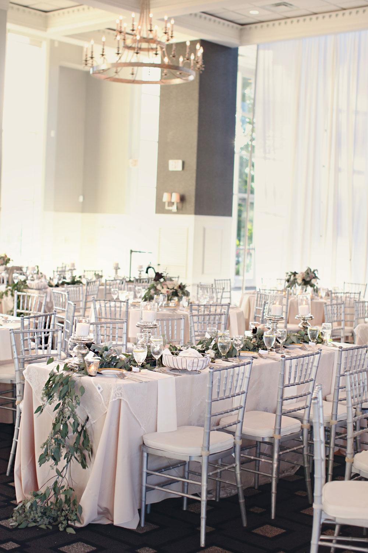 Romantic Silver and Blush Reception Decor