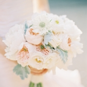 Rose Peony Ranunculu and Dusty Miller Bouquet By The Nouveau Romantics