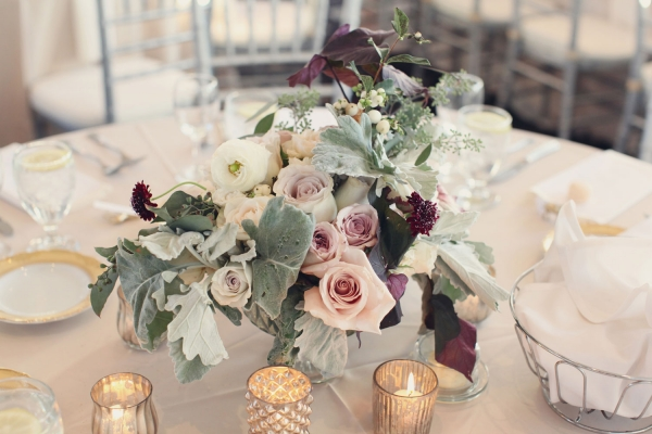Rose and Dusty Miller Centerpiece
