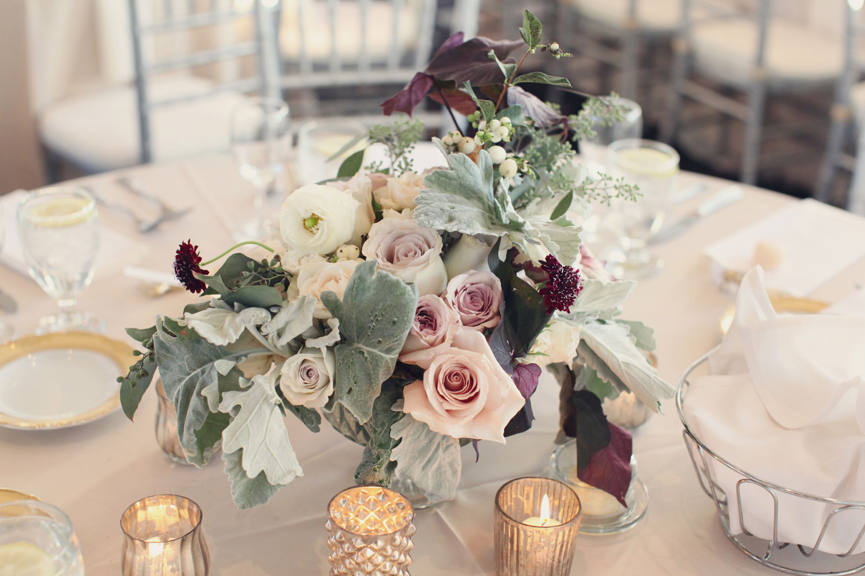 Rose and dusty miller centerpiece elizabeth anne designs