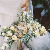 Silver Basket With Pastel Flowers