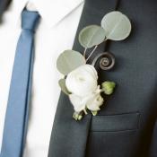 Skinny Blue Tie Grooms Attire