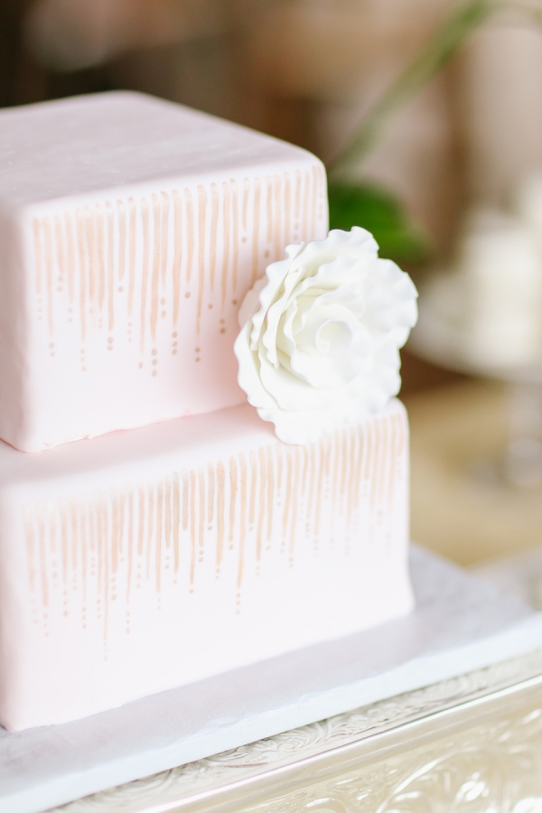 Square Pink Wedding Cake