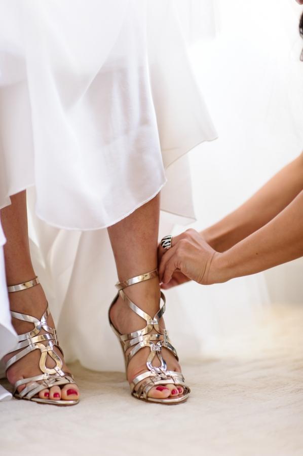1a53c0ad7046be Strappy Gold Bridal Shoes - Elizabeth Anne Designs  The Wedding Blog