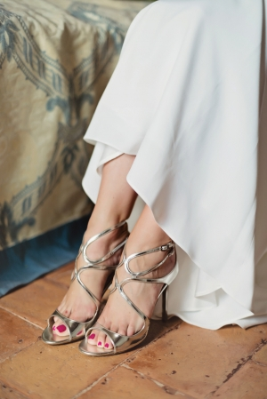 Strappy Metallic Bridal Heels