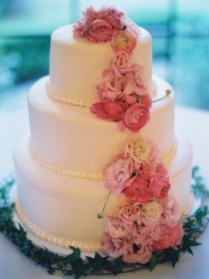 Wedding Cake with Cascading Pink Flowers