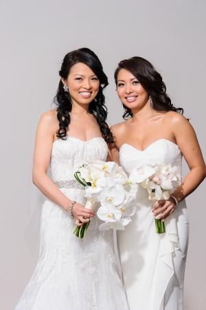 White Strapless Bridesmaids Dress