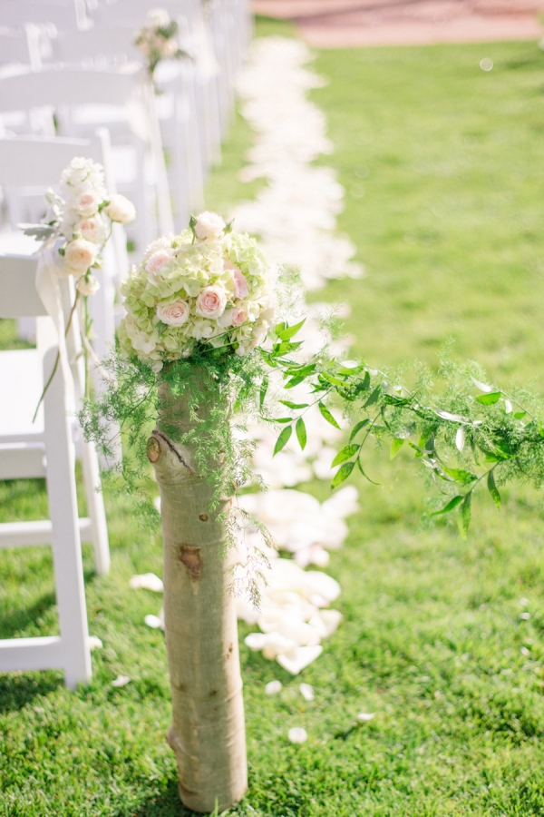Birch and Garland Ceremony Decor