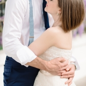 Blue Suspenders Engagement Photo Attire