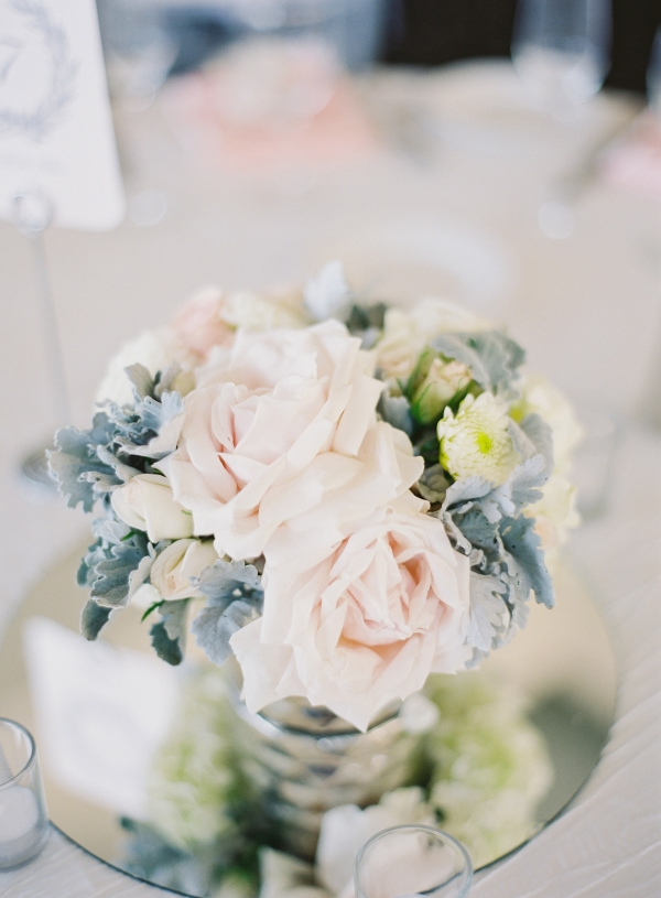Blush Rose and Dusty Miller Centerpiece