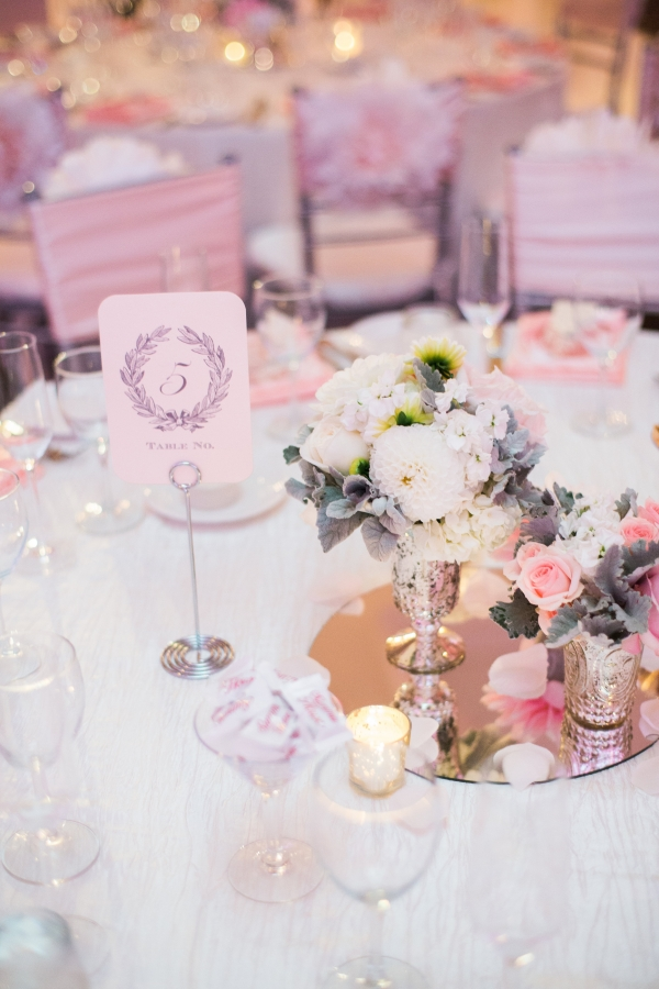 Blush and Gray Centerpiece