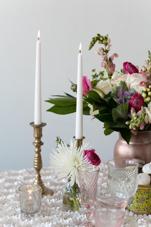 Brass Candlesticks Reception Decor