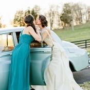 Bride and Bridesmaid at Vintage Getaway Car