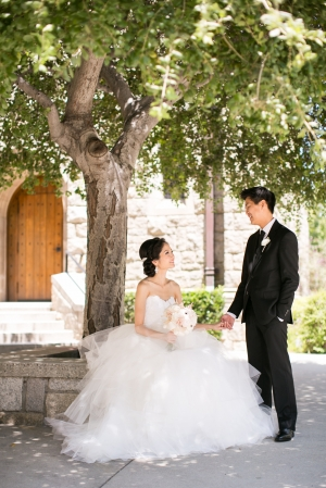 Bride and Groom Outside of LA Church