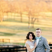 Bride and Groom at Horse Farm