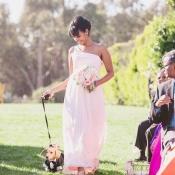 Bridesmaid Walking Dog Down Aisle