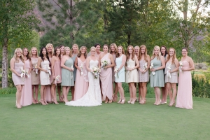 Bridesmaids in Shades of Pink and Blue