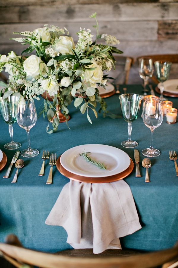Copper Plates Rustic Wedding Table