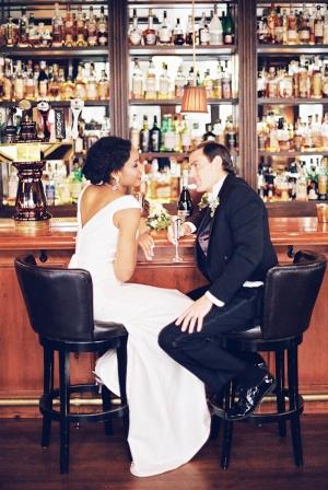 Couple Sitting at Vintage Bar