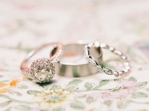 Diamond Ring and Silver Wedding Bands