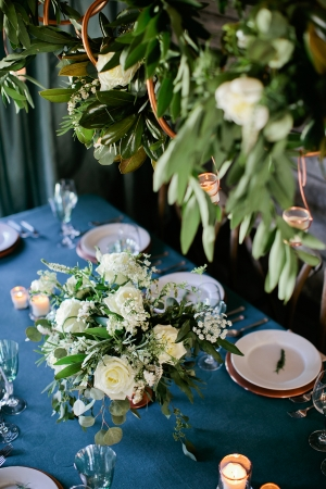 Earthy Cream and Green Reception Flowers