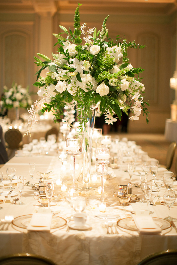 Elegant Cream and Green Reception Centerpiece