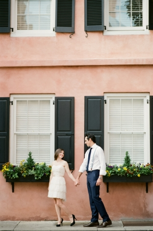 Engagement Photos on Charleston Sidewalk