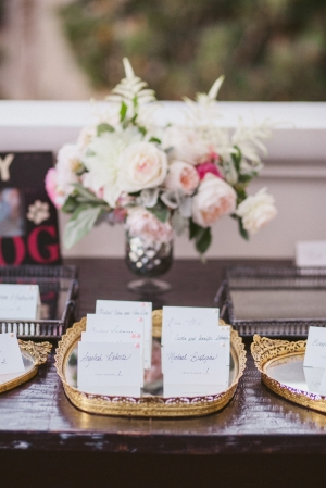 Escort Cards in Gold Trays