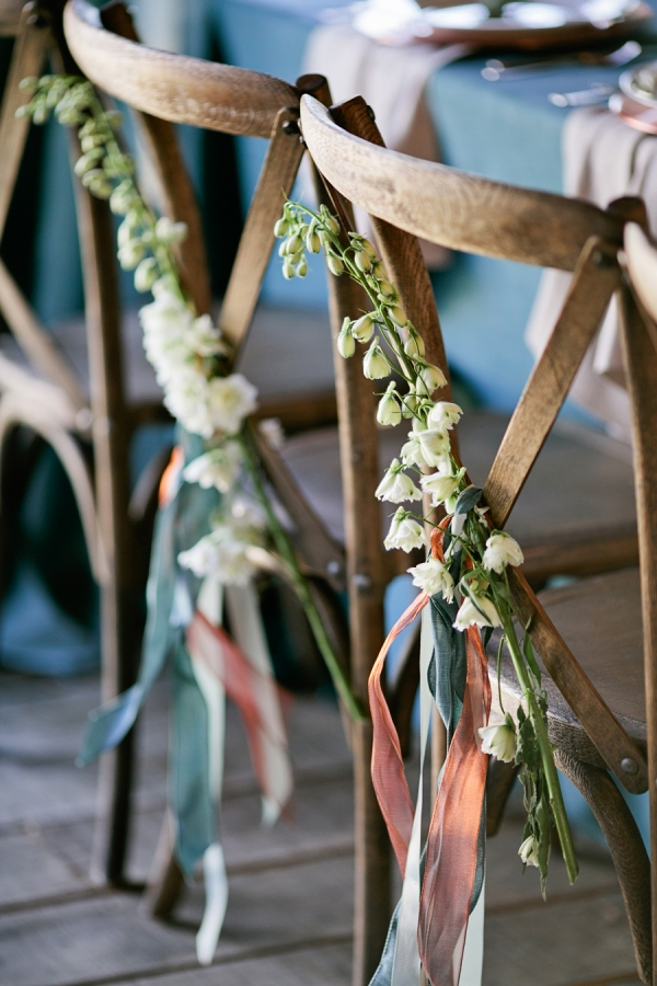 Flower Branch and Streamers on Chair Backs