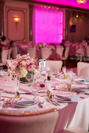 Fuchsia and Lavender Reception Decor
