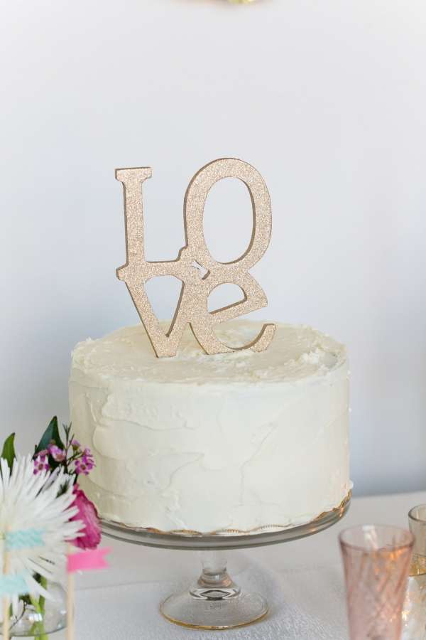 Gold Glitter Love Wedding Cake Topper