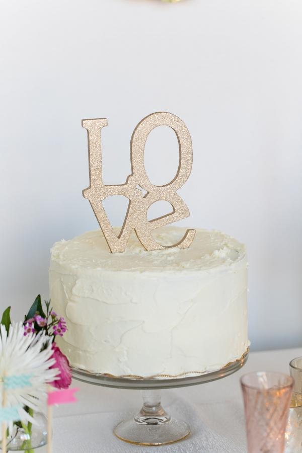 Gold Glitter Love Wedding Cake Topper