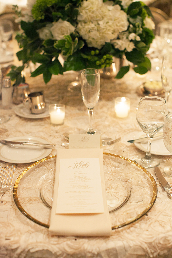 Gold Rimmed Plates Reception Decor