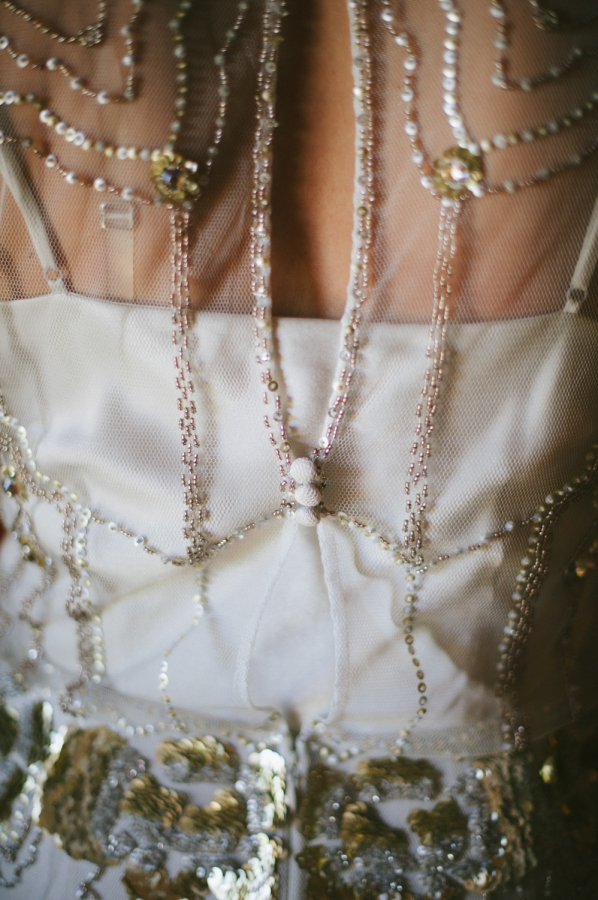 Gold and Silver Beading and Sequins on Bridal Gown