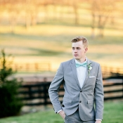 Groom in Aqua Bow Tie