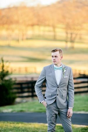 Groom in Aqua Bow Tie
