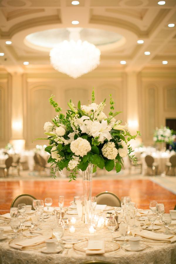 Hydrangeas And Greenery In Trumpet Vase Elizabeth Anne Designs