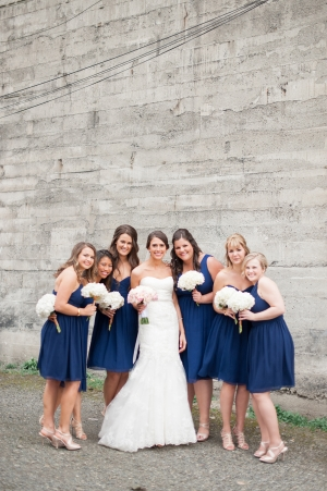 Knee Length Navy Bridesmaids Dresses