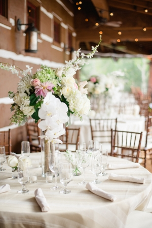Lush White and Pink Centerpiece