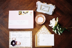 Mauve and Gold Wedding Invitations