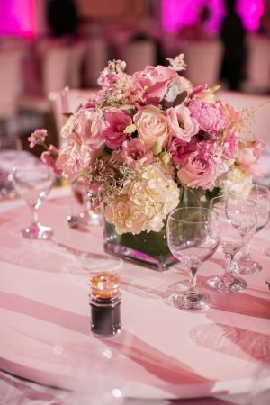 Modern Rose and Hydrangea Reception Centerpiece